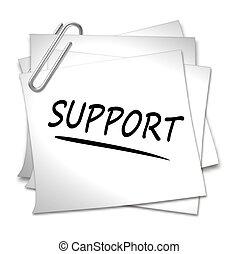 memorandum papier, -, steun, klem