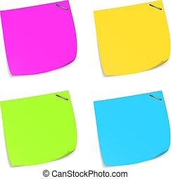 memorandum., sæt, notere, farverig, klæbrige
