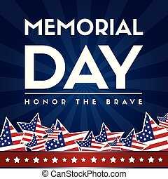 memoriał, afisz, bandera, amerykanka, dzień, szczęśliwy