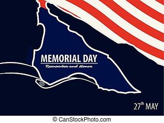 memoriał, armia, afisz, amerykanka, na, dzień, tło., bandera, wektor, ilustracja, wojsko, pozdrawianie, template.