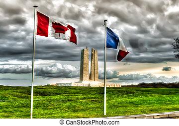 memoriał, grzbiet, kanadyjczyk, krajowy, francja, vimy