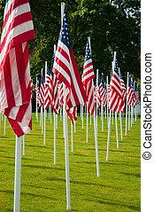 memoriał, hałasy, park, amerykańskie bandery, dzień