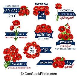 memoriał, kwiat, anzac, mak, dzień, wstążka, ikona