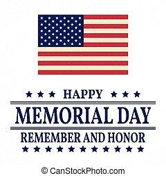 memoriał, poster., pamiętać, banner., flag., honor, amerykanka, wektor, tło, patriotyczny, template., szczęśliwy, dzień, illustration.