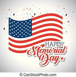 memoriał, szczęśliwy, bandera, dzień