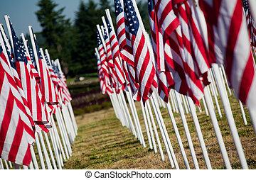 memoriał, usa, -, amerykańskie bandery, dzień