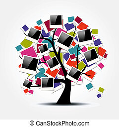 memoria, árbol genealógico, con, polaroid, foto encuadra