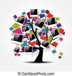 memoria, albero genealogico, con, polaroid, cornici foto