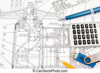 memoria, calculadora, destello, pluma, diseño