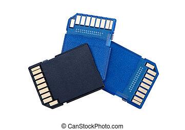 memoria, tarjetas, aislado, blanco, fondo.
