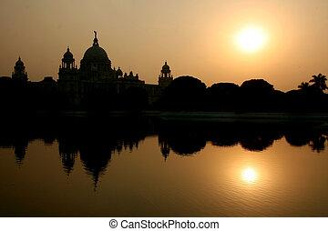 memorial, índia, silueta, calcutá, victoria
