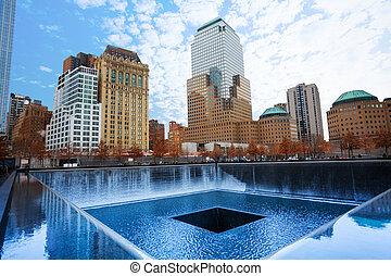 Memorial 911 with beautiful buildings, New York - Memorial...
