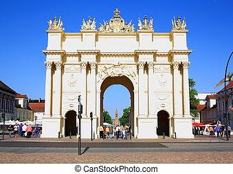 Memorial, Brandenburg Gate in Potsdam, horizontal