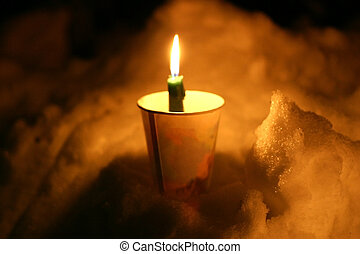 Memorial Candle - Memorial candle in cup stuck into snowbank