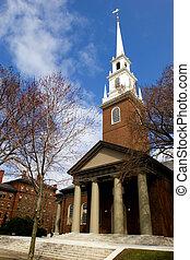 Memorial church - Harvard University campus in Cambridge, ...