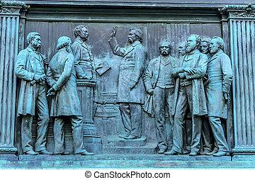 memorial, civil, c.c. washington, geral, logan, estátua, círculo, john, guerra