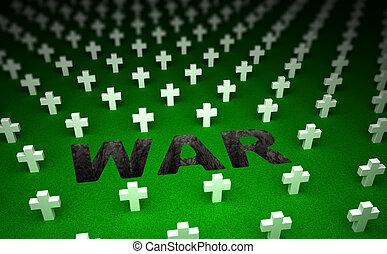 memorial., concepto, cementerio, guerra, 3d