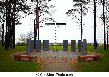 Memorial cross at the cemetery of German soldiers in Toila,...