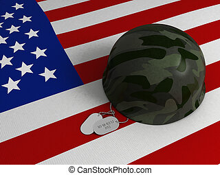 3D Illustration of a US Flag, Military Helmet, and Dog Tags