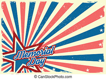 detailed illustration of a grungy stars and stripes backbround with Memorial Day text, eps 10 vector