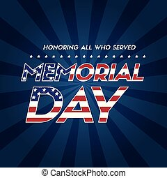 Memorial day background flag american vector illustration