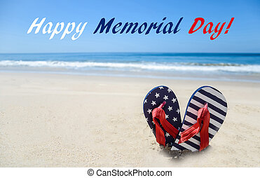 Memorial day background on the beach