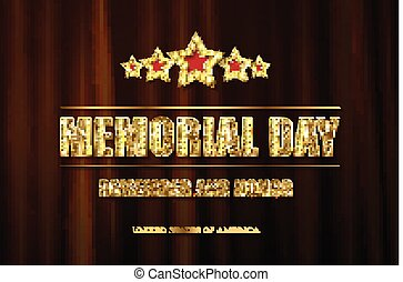 Memorial day background vector art with 5 gold stars....
