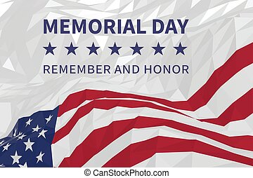 Memorial day background with american flag in a triangular style