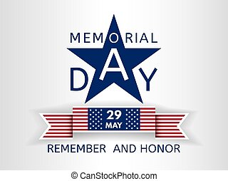 Memorial Day background with the emblem in the form of a blue star and ribbon similar to the USA flag