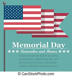 Memorial Day background with USA flag. Vector illustration