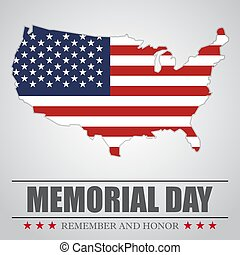 Memorial Day background with USA map . Vector illustration