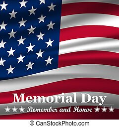Memorial Day background with waving USA flag. Vector illustration