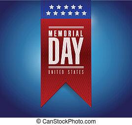 memorial day banner sign illustration design over a blue...