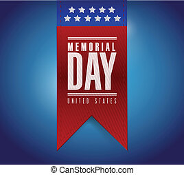 memorial day banner sign illustration design over a blue background