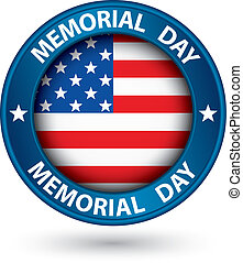 Memorial day blue label with USA flag, vector illustration