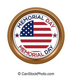 Memorial day button isolated on white background