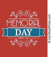 memorial day card over red background. vector illustration