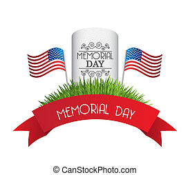 memorial day card over white background. vector illustration