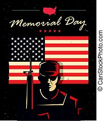 Memorial day card. Soldier against american flag.