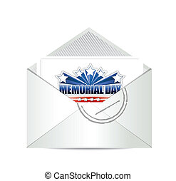 memorial day cart mail illustration design over a white ...