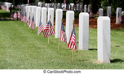 Memorial Day Cemetery - American flags on grave sites...