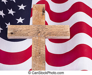 Memorial Day Cross and Flag
