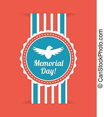 Memorial Day design over red background, vector illustration