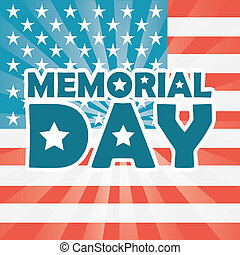 Memorial Day design over US flag background, vector...