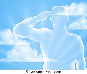 Memorial Day Design - A soldier saluting with cloud sky...
