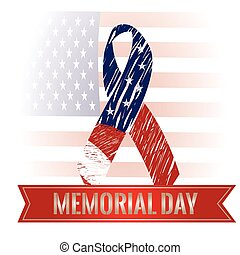 Memorial Day - Colored background with a ribbon with text, a...