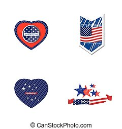 Memorial day - Set of badges and different objects on a...