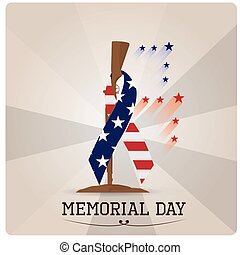 Memorial day - Grey background with text, a rifle and a...