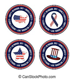 Memorial day - Set of banners with text and different icons...