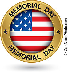 Memorial day gold label with USA flag, vector illustration
